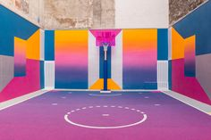 Ill-Studio and Pigalle have returned to a basketball court they previously overhauled with bold patterns with new colours and gradients.