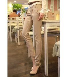 Ladylike Slim Fit Solid Color Women's Pencil Pants