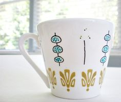 Upcycled hand illustrated mug-set of 2