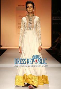 Off-white Anarkali floor length Crinkle Chiffon Payal Singhal Dress