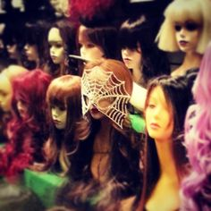 femmexcentrique:  Rhinestone spiderweb mask? Chicago has THEE BEST wig shops in all the land.