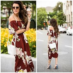 Hello Fashion. Marron floral off the shoulder midi dress+grey ankle strap heeled sandals+white shoulder bag. Summer outfit 2016