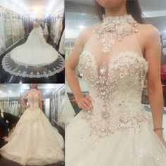 Luxury 2016 New Sexy White Shining Beaded Crystals Tulle Ball Gown Wedding Dress Bridal Gown vestido de noiva robe de mariage