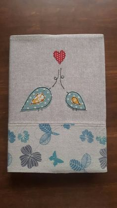 2 birds in love applique A5 fabric notebook / journal cover using free motion…