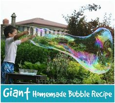 GIANT HOMEMADE BUBBLES!  Easy recipe makes the best homemade bubbles ever!  They're HUGE! - Happy Hooligans
