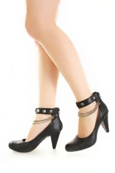 Black Faux Leather Pyramid Studded Chain Strap Heels