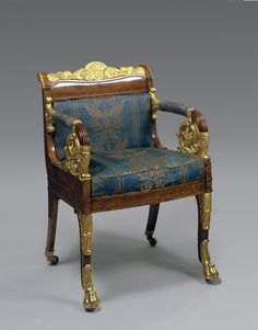 Title:  Low-Backed Armchair  Place of creation: Russia  Date: Second quarter of the 19th century  Material: wood (poplar) and lyons silk  Technique:  carved and gilded  Dimensions:  85x56x46 cm