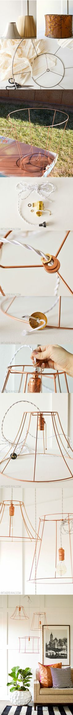 Sencilla lámpara DIY / http://www.vintagerevivals.com/