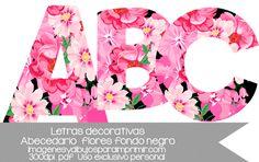flores sobre un fondo negro elegantes flores para imprimir en un abecedario letra a letra en tamaño folio y PDF