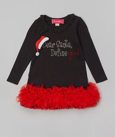 Look at this #zulilyfind! Black 'Dear Santa' Ruffle Dress - Infant, Toddler & Girls by The Princess and the Prince #zulilyfinds