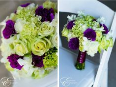 I've always loved purple, and especially purple and green together.  These floral arrangements are spectacular!