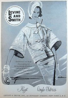 1950s LEVIN AND SMITH Fashion Illustration Womenswear Vintage Magazine Advertisement