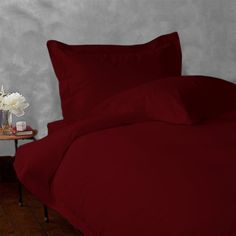 Congo Linens 600 TC 100 Percent Egyptian Cotton Duvet Set Solid(King,Burgundy)