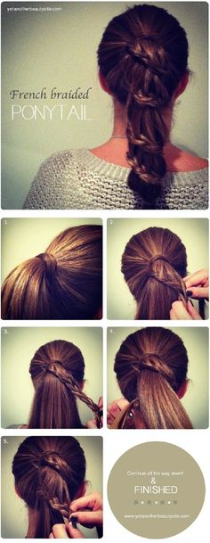 French Braided Ponytail Hairstyles Tutorial