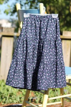 Girls' modest tiered skirt size 6 Blue and by KreatedByKimmie