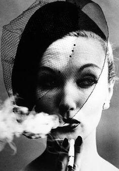 Smoke and Veil, Paris (Vogue), 1958  Lisa Fonssagrives  © William Klein