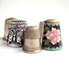 thimbles | Vintage Sewing Thimbles from the 1940s, Metal, 5,One Floral Enamel ...