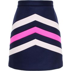 Msgm Chevron Mini Skirt ($330) ❤ liked on Polyvore featuring skirts, mini skirts, wool skirt, mini skirt, short blue skirt, chevron striped skirt and embroidered skirt