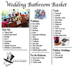 Wedding Gifts For Guests bathroom Basket checklist.it says wedding but I think it's great to make this stuff available for house guests.you know the stuff you wouldn't want to have to ask for if you were a guest Wedding Tips, Wedding Details, Wedding Favors, Diy Wedding, Rustic Wedding, Wedding Decorations, Wedding Day, Wedding Stuff, Budget Wedding