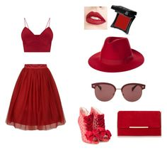 """""""Red Set"""" by soupravenclaw ❤ liked on Polyvore featuring Sophia Webster, Oliver Peoples, Brixton, Jouer and Illamasqua"""