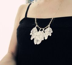 Summer Nature Garden Beach Leaves  Lace Necklace Accessory For T-shirt Tank Dress