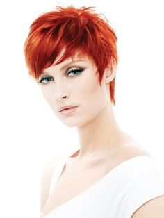Red Short Pixie Haircut with Side Swept Bangs