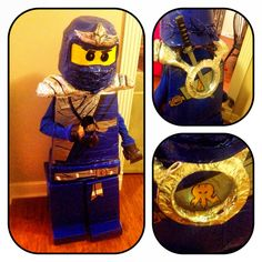 Homemade DuckTape Lego Ninjago Jay Costume I made For my son for Halloween. Took 11 rolls total. Head is dollarstore basket and bowl covered with tape. Eyes: black mesh netting, body is 1 inch foam covered with duck tape , hands are used duck tape rolls covered with duck tape... Spent Over 7 hours working on this  ...Not a beginner craft ;) but well worth the smile on my son's face! #Lego #Ninjago #Jay  #Ducktape #Halloween #Costume #Homemade #craft