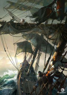 Assassin's Creed IV Black Flag Concept Art by Martin Deschambault Arte Assassins Creed, Assassins Creed Black Flag, Pirate Art, Pirate Life, Pirate Ships, Fantasy World, Fantasy Art, Final Fantasy, Charles Vane