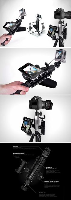 With the Pica-Pod tripod, you'll run out of things to mount. This one bad-boy can and will allow you to mount everything in one place, so no matter, if you've got a GoPro, or a DSLR, or a 360° camera, or even just a point & shoot, you're sorted.