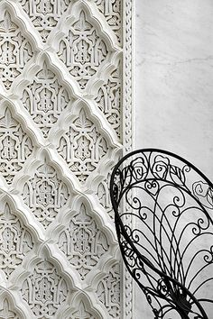 La Sultana, Marrakech - pattern mixes can also be carved and molded. (Cross hatch over intricate wallpaper - Anywhere!  White for Alhambra- ebony for Castille.