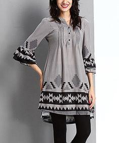 Look at this #zulilyfind! Gray Southwest Button-Front Tunic #zulilyfinds