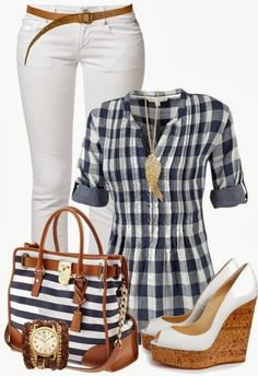Blue and White Shirt with Skinny White Pants