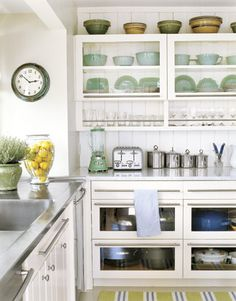 love the shelving in this kitchen
