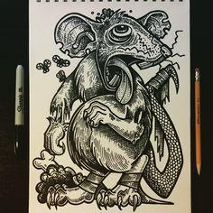 rattie zambambo #drawingfordrunks #rat #zombie #walker #gross #sketch #sketchbook #drawing #Sharpie #marker