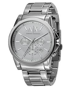 A|X Armani Exchange Watch, Men's Chronograph Stainless Steel Bracelet 45mm AX2058 - Men's Watches - Jewelry & Watches - Macy's