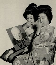 shihlun: Geisha showed their disdain for British Prime Minister, Winston Churchill, at a party in Tokyo, 1941. WC stands for both Water Closet (toilet) and Winston Churchill. Appropriate in reference to Churchill's horrific handling of famines in India. Not that I'm saying the Japanese were cool or anything. They committed genocide in my country, and they don't even teach it in their schools. Everyone's an asshole. >:(