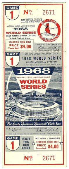 Baseball Ticket -- Bob Gibson struck out 17 Detroit Tigers in the Cardinals victory that day. #baseballstadium