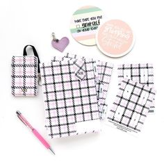 NEW Insert Covers in the adorable Pink Houndstooth Plaid. Perfectly coordinates the NEW Covers! 😉 . . . #insertcovers #idbadgeswag #tabstickers #coasters #deskaccessories #deskdecor #deskorganization Id Badge, Desk Organization, Make It Simple, Stylish, Fashion Hair, Style Fashion, Houndstooth, Planners, Journaling