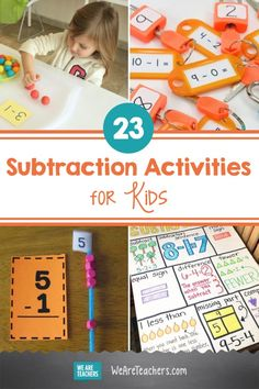 23 Subtraction Activities That Are Nothing Less Than Awesome. Find all the best fun and meaningful subtraction activities for helping elementary math students master this vital skill. #subtraction #activities #activitiesforkids #math #teachingmath #elementaryschool #elementary #classroomideas #classroomresources Math Subtraction, Subtraction Activities, Preschool Learning Activities, Addition And Subtraction, Teaching Math, 2nd Grade Math, Grade 2, Third Grade, Math Made Easy
