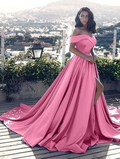 Custom Made Glorious Pink Prom Dresses, Sleeveless Prom Dresses, Prom Dresses A-Line, Prom Dresses Long Prom Dress With Train, Prom Dresses Long With Sleeves, Pink Prom Dresses, Dance Dresses, Satin Dresses, Dress Prom, Evening Dresses, Long Dresses, Dress Long