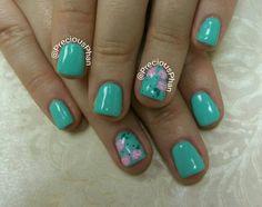 Mint nails. Ready for a spring nails. Floral nails. #PreciousPhanNails