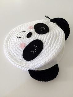 Crochet Cute Panda Bag Making 6 - Nice ideas Crochet Coin Purse, Crochet Purse Patterns, Bag Crochet, Crochet Pouch, Crochet Shell Stitch, Crochet Pillow, Crochet Handbags, Crochet Purses, Love Crochet