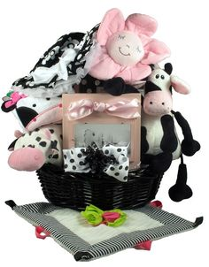 And The Cow Says...Baby Girl Cow themed baby girl gift basket