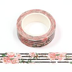 Washi Tape 15mm - Nr.55 Washi Tape Uses, Rose Gold Foil, Butterfly, Snail Mail, Decor Crafts, Black Stripes, Processing Time, Notebooks, Planners
