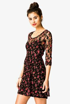 Floral Print Lace Dress | FOREVER 21 - 2031557486