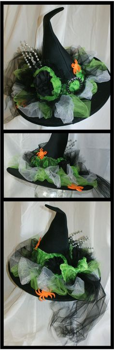 Witch Hat...green, silver and black with spiders.