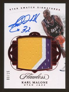 5315ccfc02e 2017-18 Flawless Star Ruby Karl Malone Jazz HOF 3-Color Patch AUTO 9/15