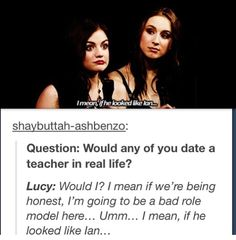 aria, couple, dating, ezria, funny, ian harding, lucy hale, pll, pretty little liars, shipping, spencer, troian bellisario, true