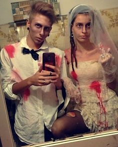 Zombies: A super fun and easy DIY Halloween costume for couples.