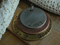 Custom Handstamped Dog/Pet ID Tag-The Triple Play